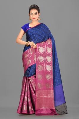 Navy Blue and Fuchsia Kanchipuram Art Silk Saree With Blouse