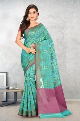 Teal Banarasi Supernet Blended Cotton Saree With Blouse