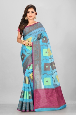 Blue Banarasi Supernet Blended Cotton Saree With Blouse