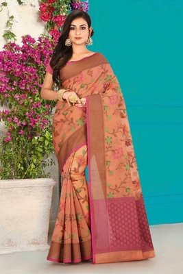 Peach Banarasi Supernet Blended Cotton Saree With Blouse