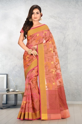 Peach Banarasi Supernet Blended Cotton Saree With Blouse