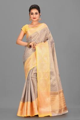 Beige Banarasi Brocade Art Silk Saree With Blouse