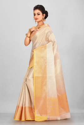 Silver Banarasi Brocade Art Silk Saree With Blouse