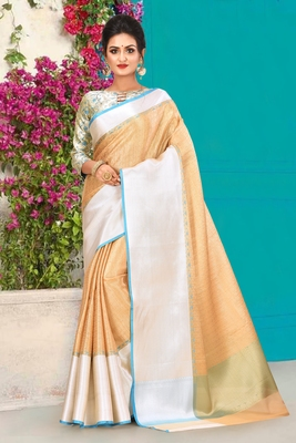Beige Banarasi Brocade Art Silk Saree With Blouse