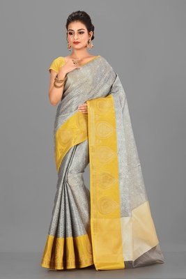 Grey Banarasi Brocade Art Silk Saree With Blouse