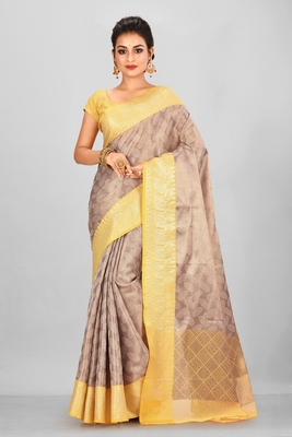 Antique Gold Banarasi Brocade Art Silk Saree With Blouse
