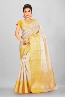 Silver Banarasi Brocade Art Silk Saree With Blouse
