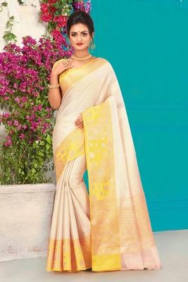 Off White Banarasi Brocade Art Silk Saree With Blouse