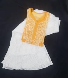 Orange embroidered georgette chikankari-kurtis