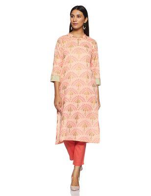 Light-peach hand woven rayon cotton-kurtis
