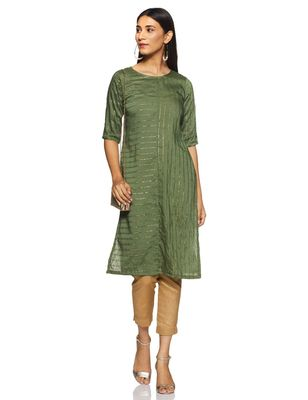 Green printed cotton cotton-kurtis