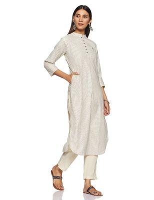 Off-white woven cotton cotton-kurtis