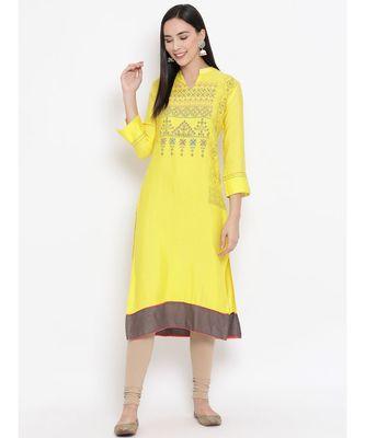Yellow Printed Straight Kurta