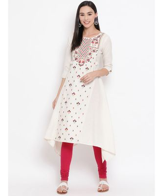 Off White Embroidered A-line Kurta