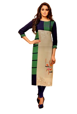 multicolor crepe rayon party wear kurtis