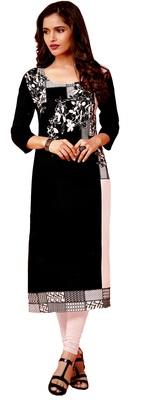 black crepe rayon party wear kurtis