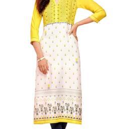 yellow crepe rayon party wear kurtis