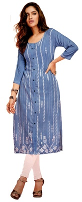 blue crepe rayon party wear kurtis