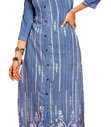 blue crepe rayon party wear kurtis
