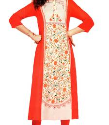 red crepe rayon party wear kurtis