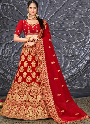 Red Velvet Embroidery Designer Wedding Lehenga