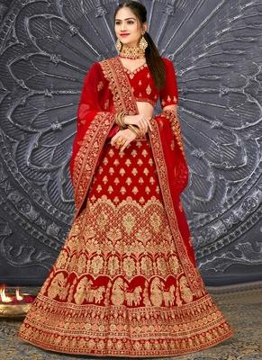 Red Velvet Embroidery Designer Wedding Lehenga