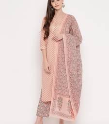 Women'S Foil Print & Gota Patti Work Straight Cotton Peach Kurta,Pant & Dupatta