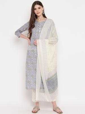 Women'S Floral Print & Gota Patti Work Straight Cotton Lavender Kurta,Pant & Dupatta