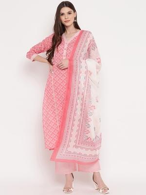 Women's Floral Print Straight cotton Light Pink Kurta,Palazzo& Dupatta