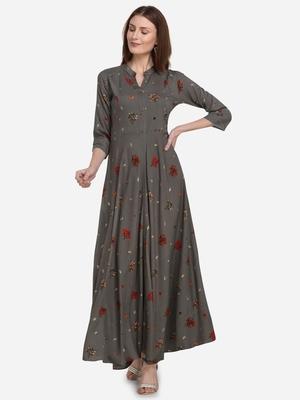 Women's Forest Green Rayon Foli Printed Flared Designer Kurta Gown