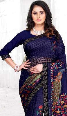 Chitrakshi Designer Peacock Brasso Saree With Blouse Piece