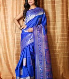 Royal blue woven patola saree with blouse