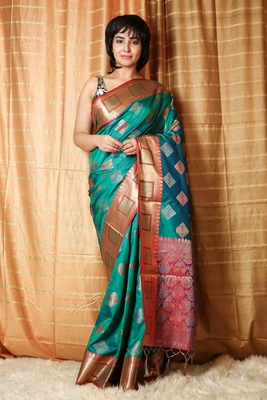 Parrot green woven patola saree with blouse