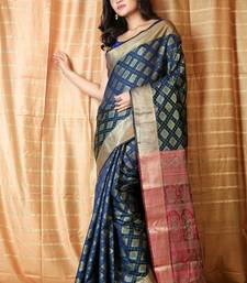 Navy blue woven patola saree with blouse