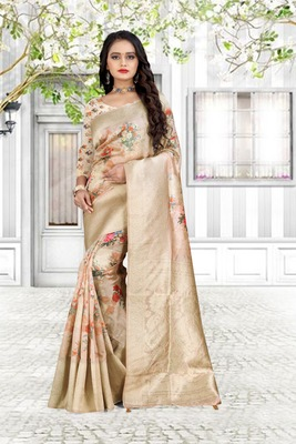 chitrakshi pink organza linen printed saree with blouse