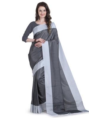 Grey printed poly silk saree with blouse