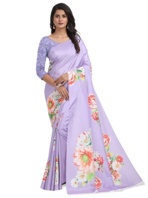 Lavender printed poly silk saree with blouse