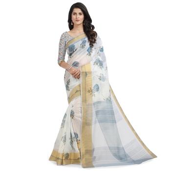 White printed chanderi saree with blouse