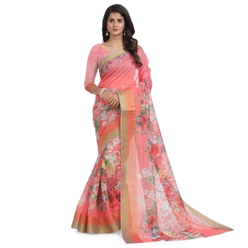 Pink printed chanderi saree with blouse