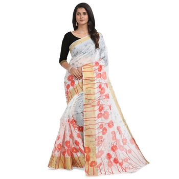 White printed chanderi saree with blouse