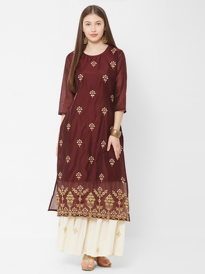 Women's  Wine Chanderi & Cotton Embroidered Straight Kurta