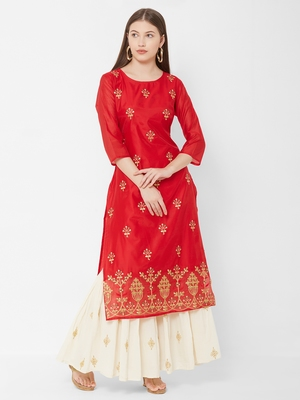 Women's  Red Chanderi & Cotton Embroidered Straight Kurta