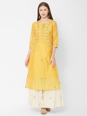 Women's  Mustard Chanderi & Cotton Embroidered Straight Kurta