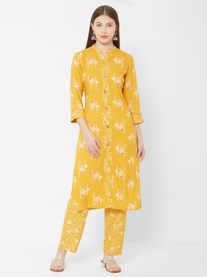 Women's Mustard Rayon Printed Straight Kurta Pant Set