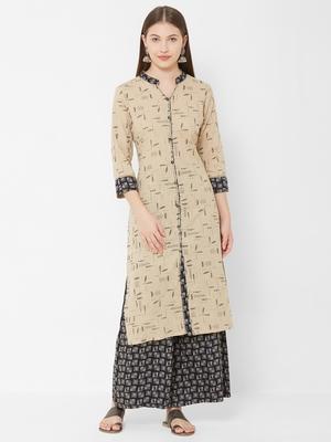 Women's Chiku Floral Straight Cotton Slub Kurta & Rayon Palazzo Set