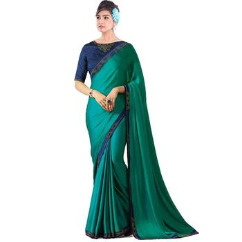 Aqua blue plain silk saree with blouse