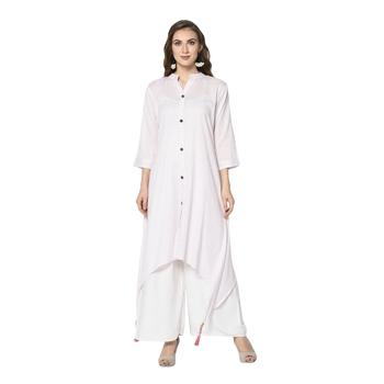 white Elora Cotton Striped Designer Kurti for Women