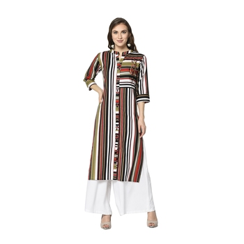 multicolor Elora Cotton Striped Designer Kurti for Women