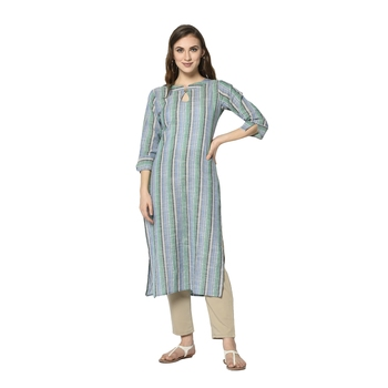 blue Elora South Cotton Striped Designer Kurti for Women