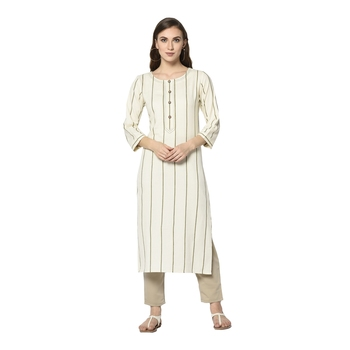 off white Elora Cotton Striped Designer Kurti for Women